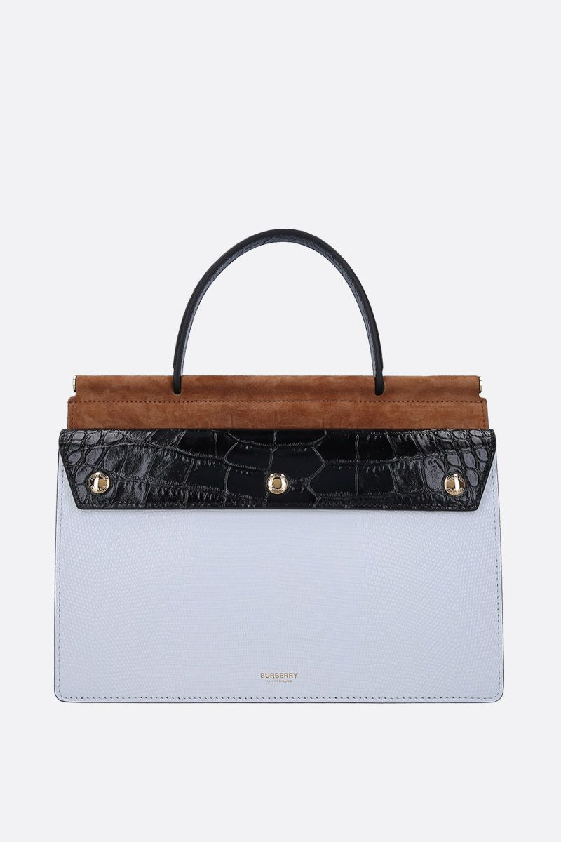 BURBERRY: borsa a mano Title Pocket small in pelle goffrata Colore Bianco_1