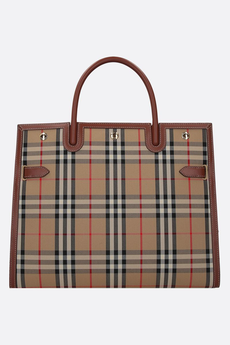 BURBERRY: borsa a mano Title large in canvas Vintage check_1