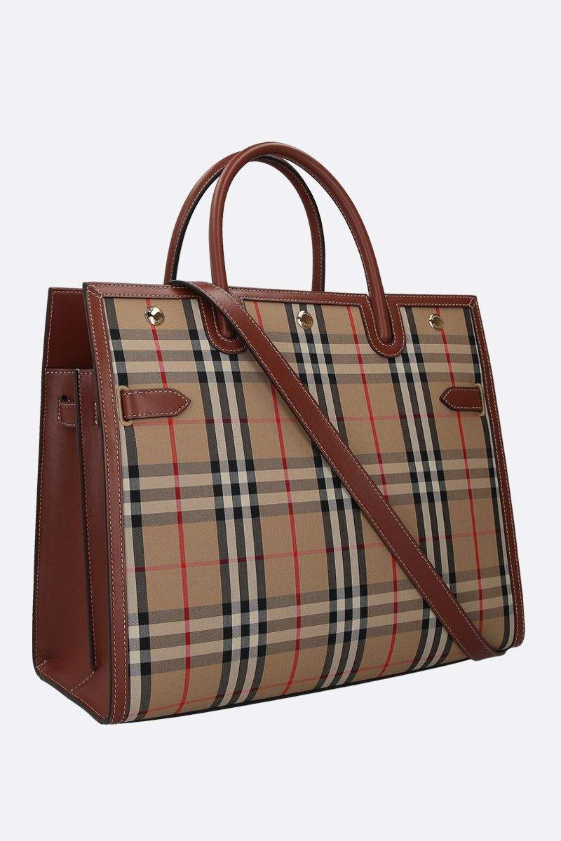 BURBERRY: borsa a mano Title large in canvas Vintage check_2