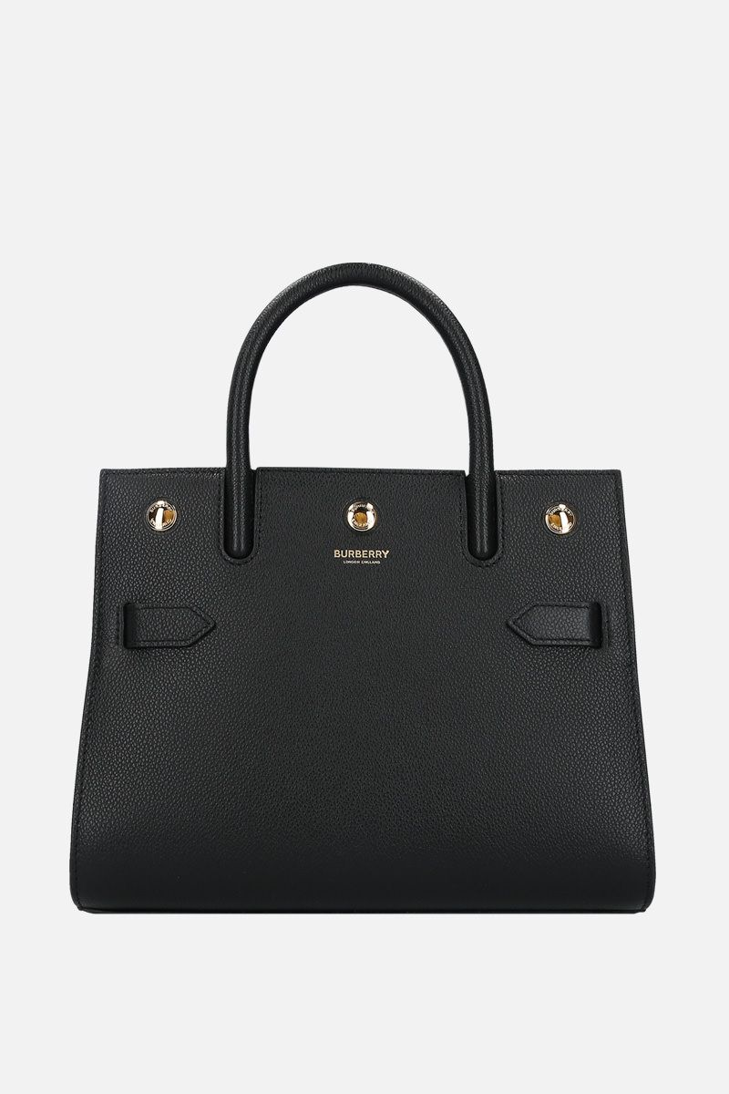 BURBERRY: borsa a mano Title small in pelle martellata Colore Nero_1