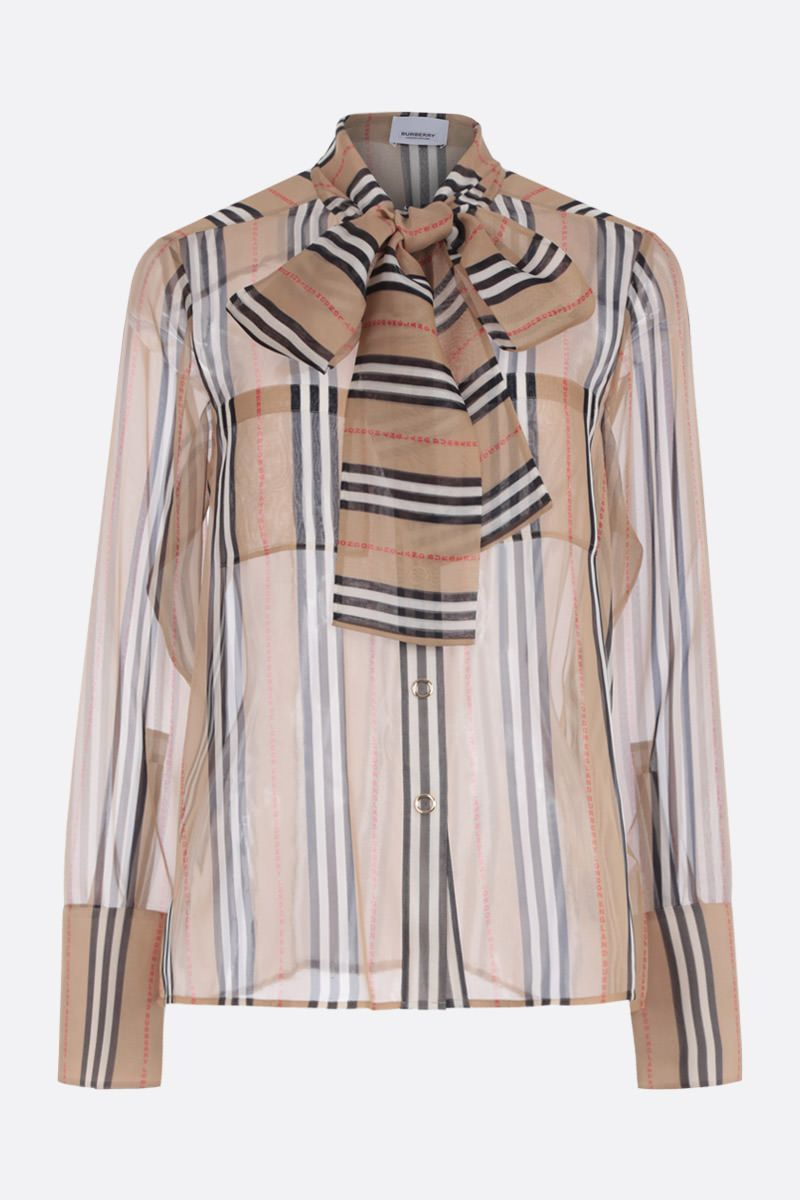 BURBERRY: Amelie silk shirt Color Brown_1
