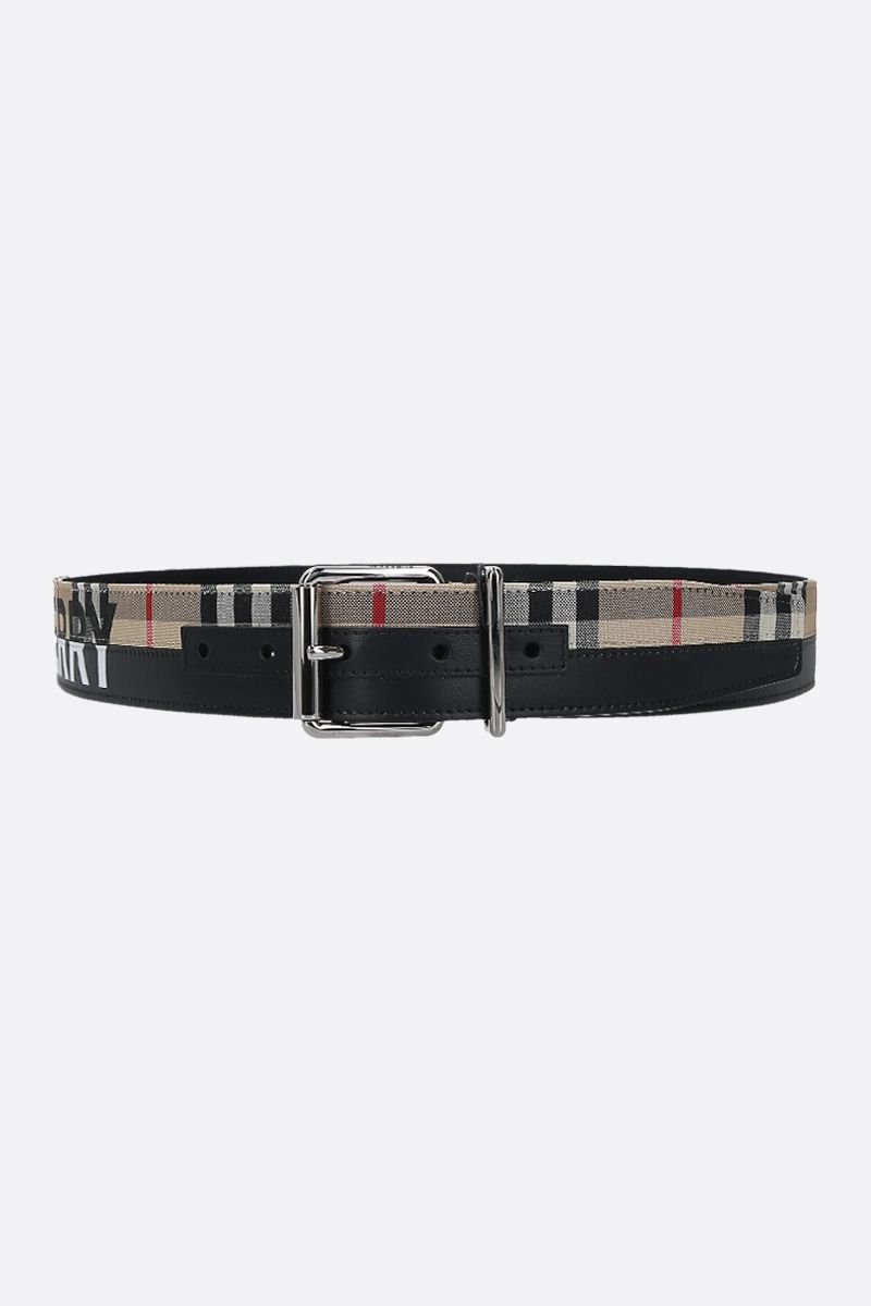 BURBERRY: Vintage check canvas and leather belt Color Black_1