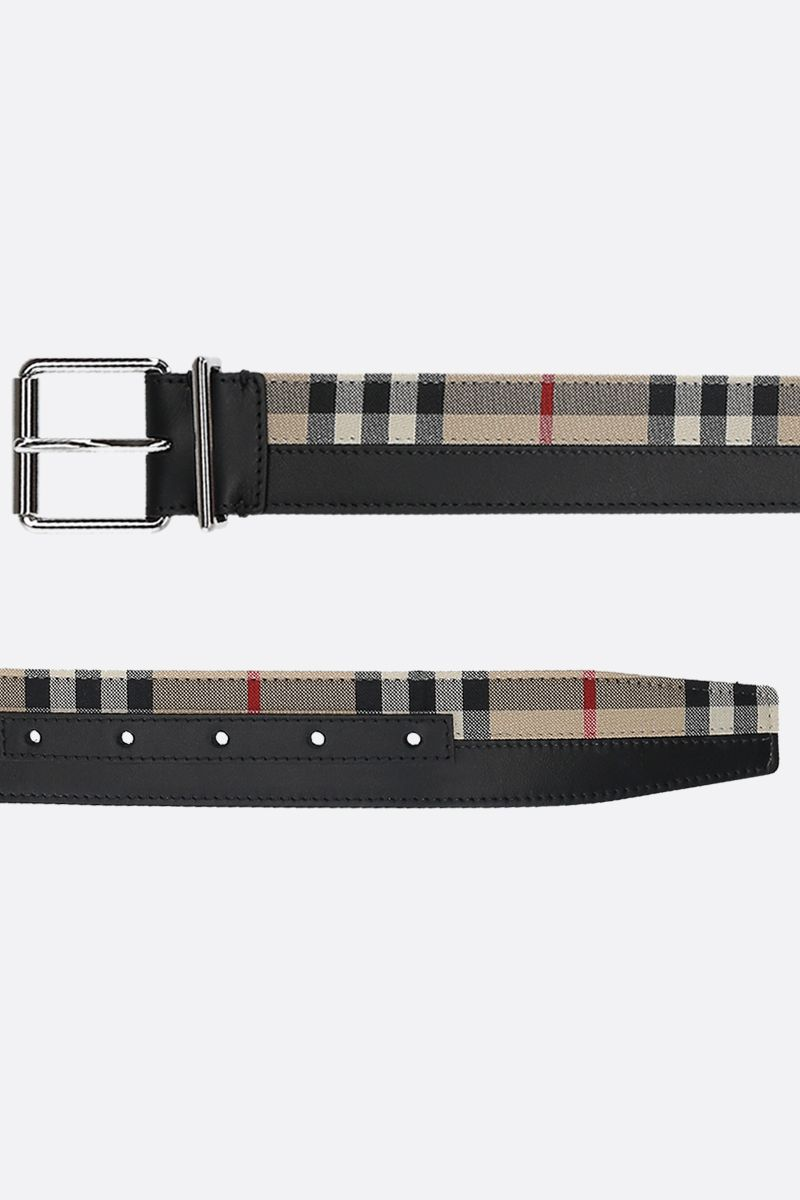 BURBERRY: Vintage check canvas and leather belt Color Black_2