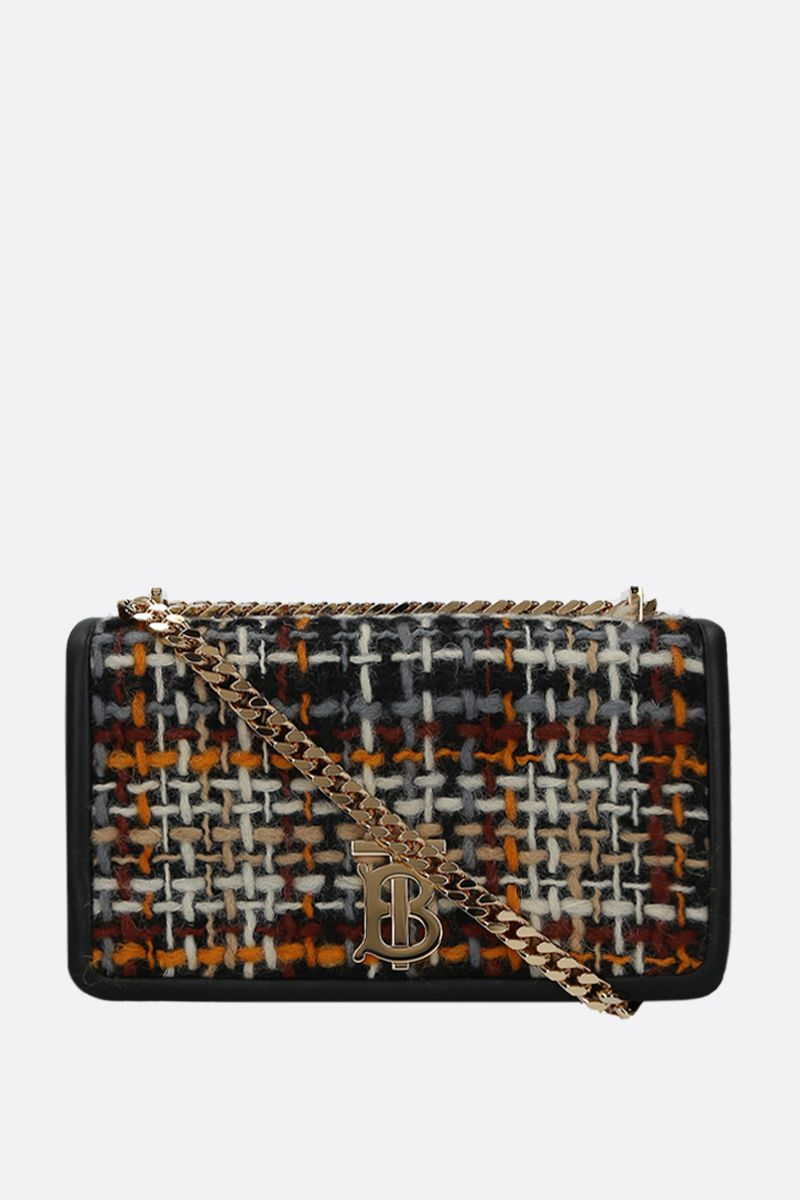 BURBERRY: borsa a spalla Lola small in tweed e nappa Colore Nero_1