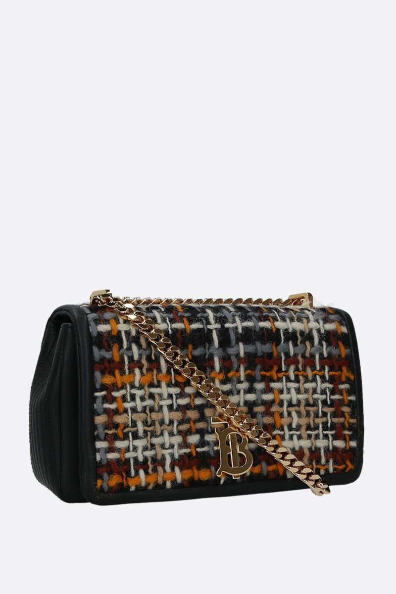 BURBERRY: borsa a spalla Lola small in tweed e nappa Colore Nero_2