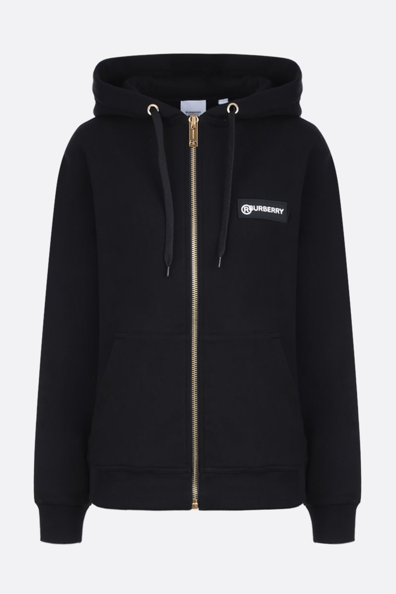 BURBERRY: Aubree cotton full-zip oversized hoodie Color Black_1