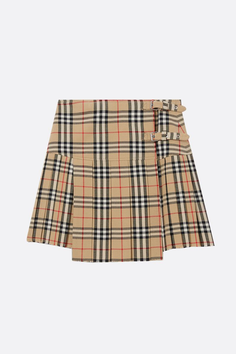 BURBERRY: Vintage check wool pleated skirt_1