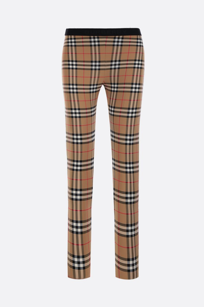 BURBERRY: Belvoir leggings in Vintage check jersey Color Yellow_1