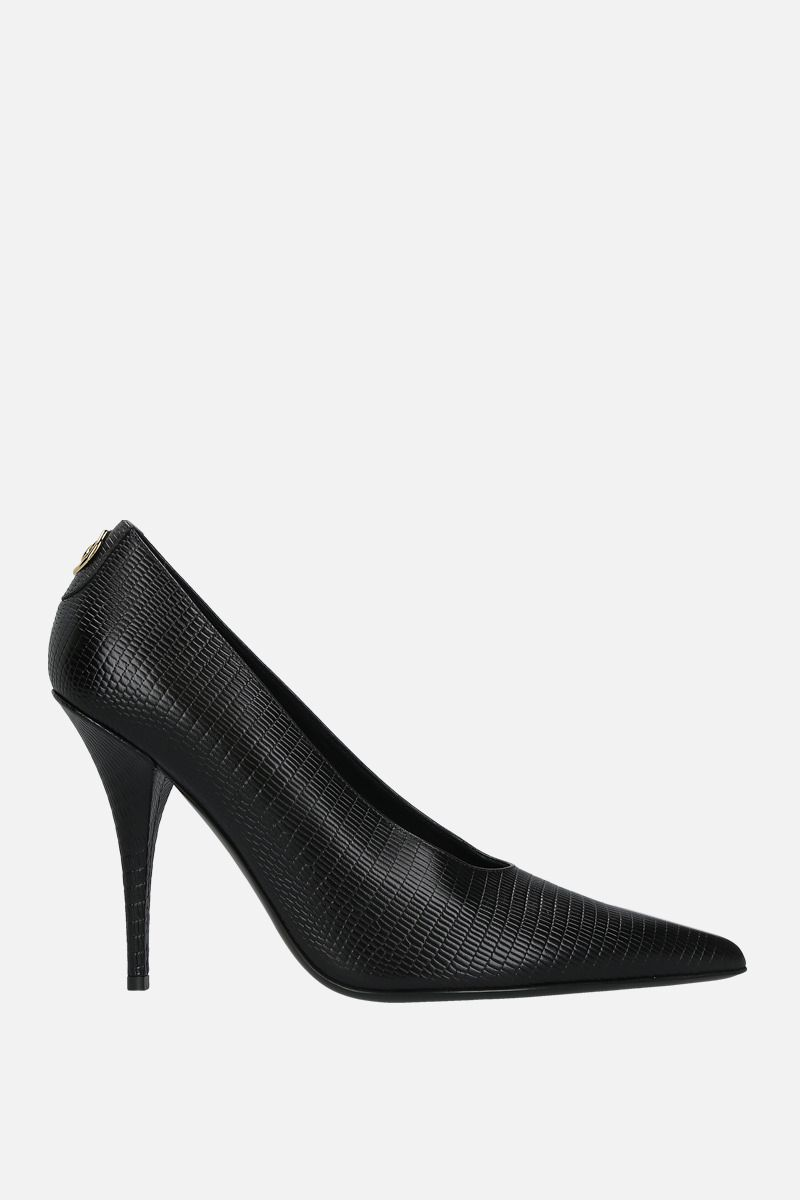 BURBERRY: Eva pumps in python embossed leather Color Black_1