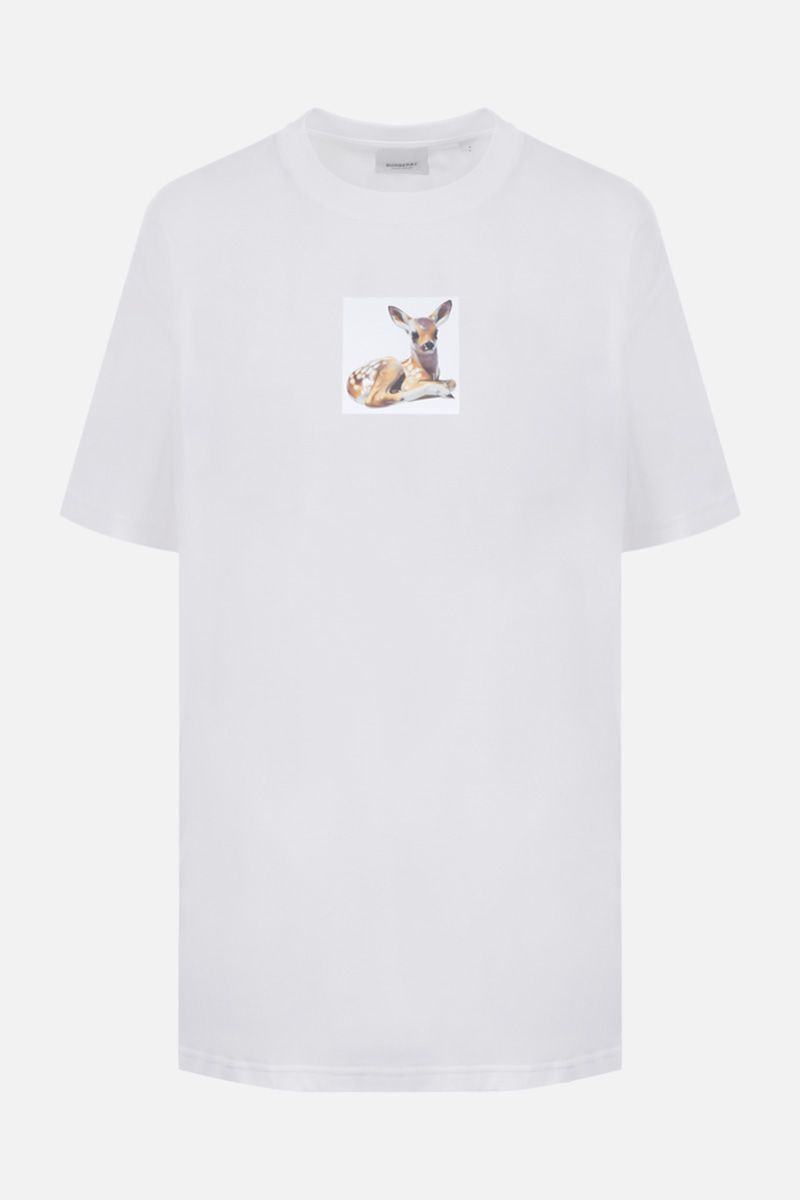 BURBERRY: Devon cotton oversized t-shirt Color White_1