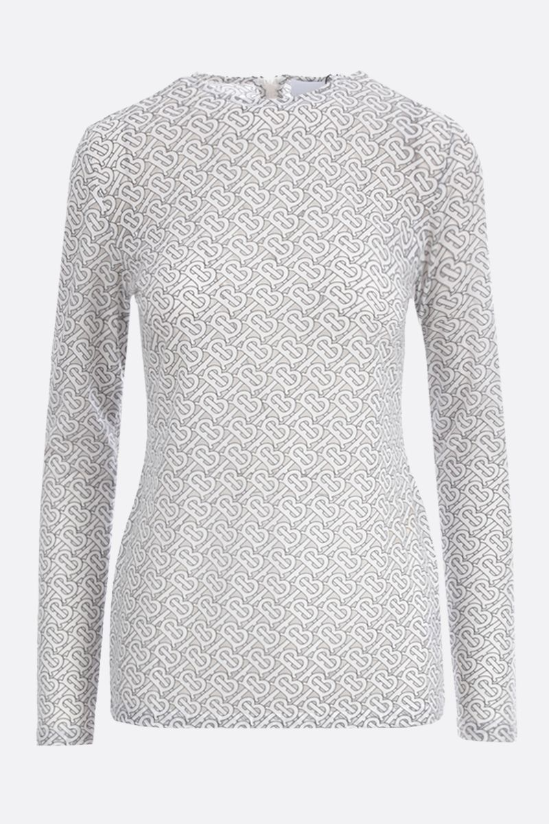 BURBERRY: Panaro devorè cotton long-sleeved top Color White_1