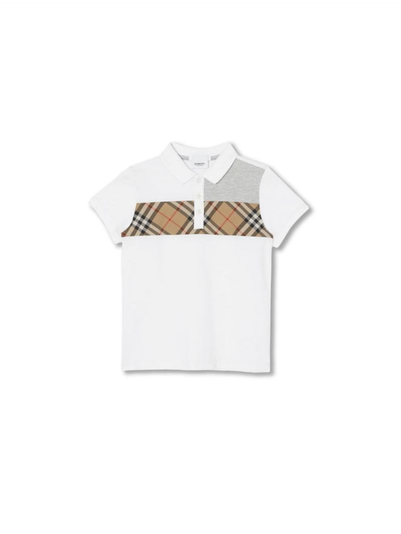 BURBERRY CHILDREN: cotton polo shirt with Vintage check insert Color White