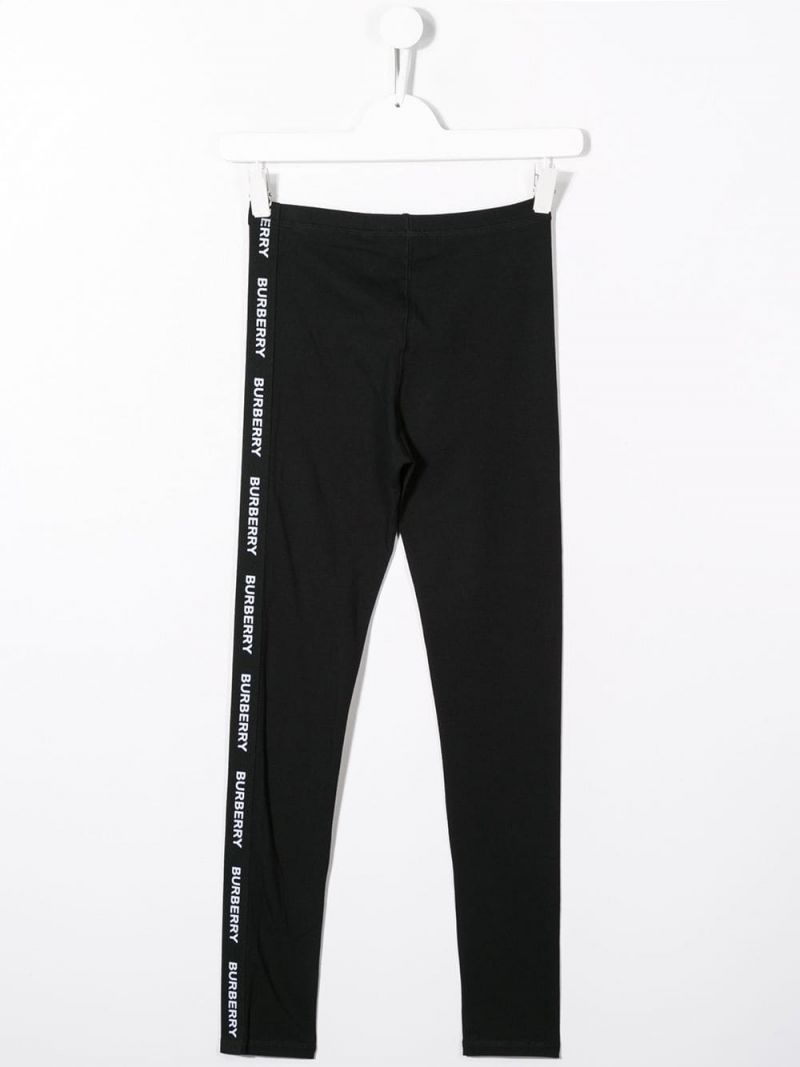BURBERRY CHILDREN: stretch cotton leggings with logoed band Color Black_2