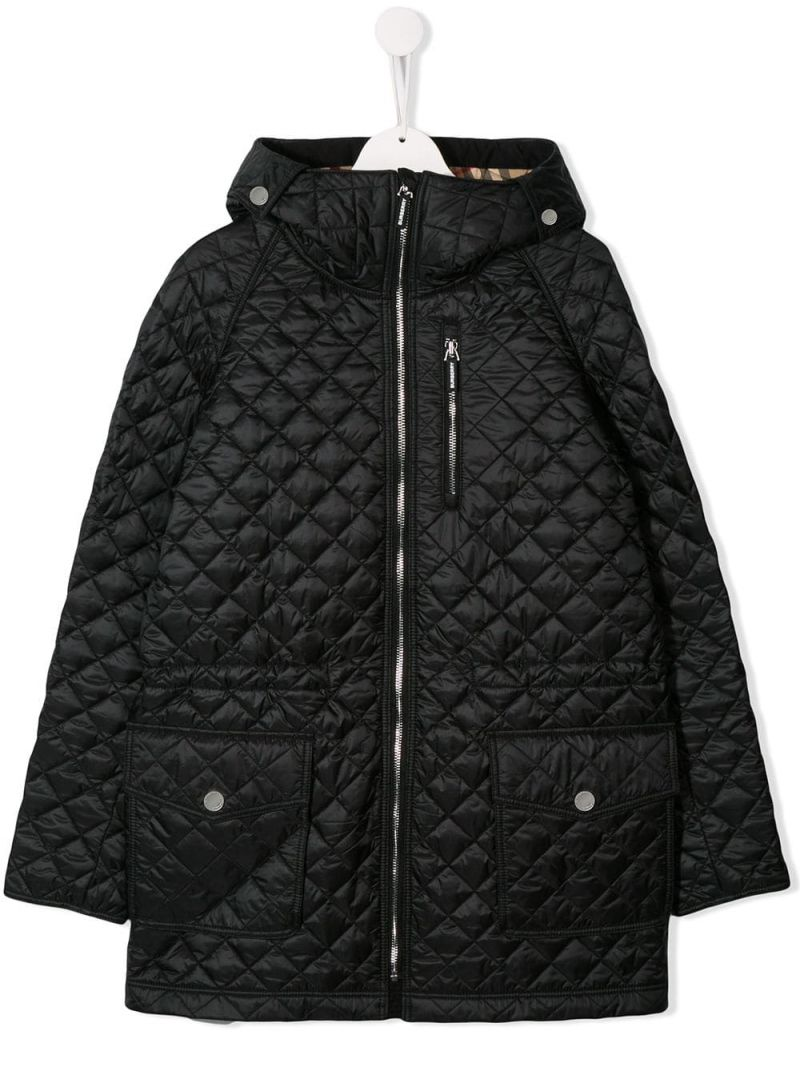 BURBERRY CHILDREN: nylon quilted hooded jacket Color Black_1