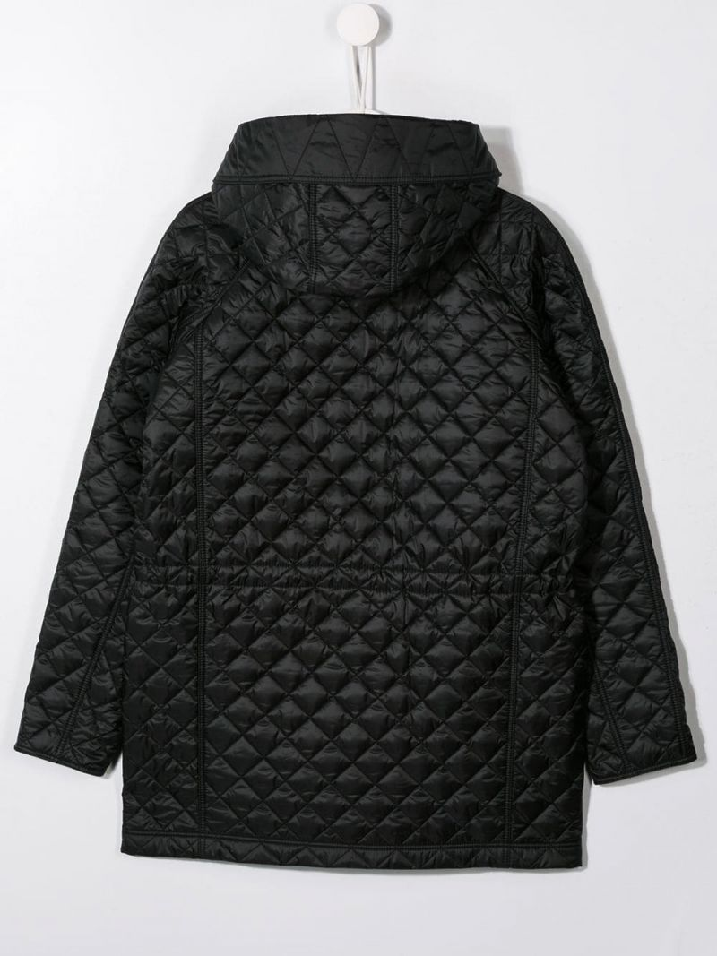 BURBERRY CHILDREN: nylon quilted hooded jacket Color Black_2