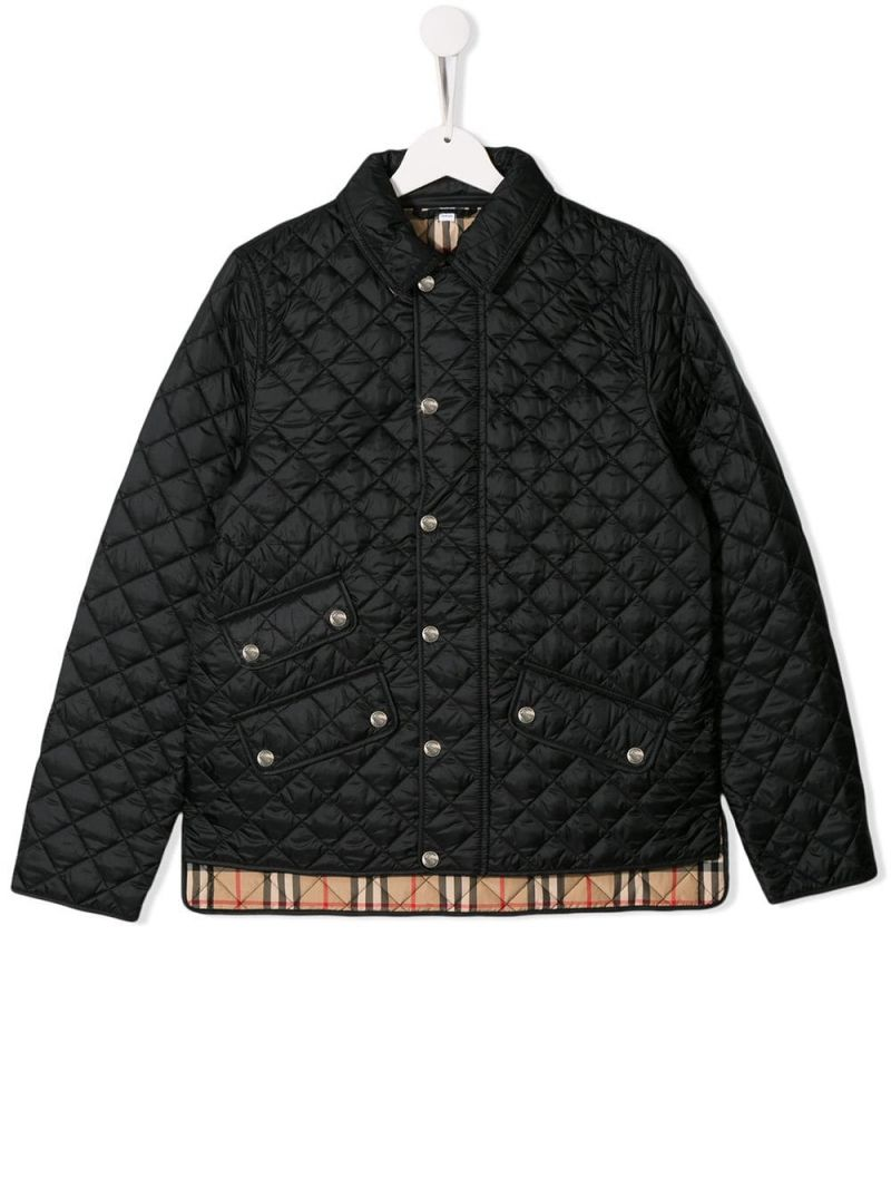 BURBERRY CHILDREN: Brennan quilted jacket in nylon Color Black_1