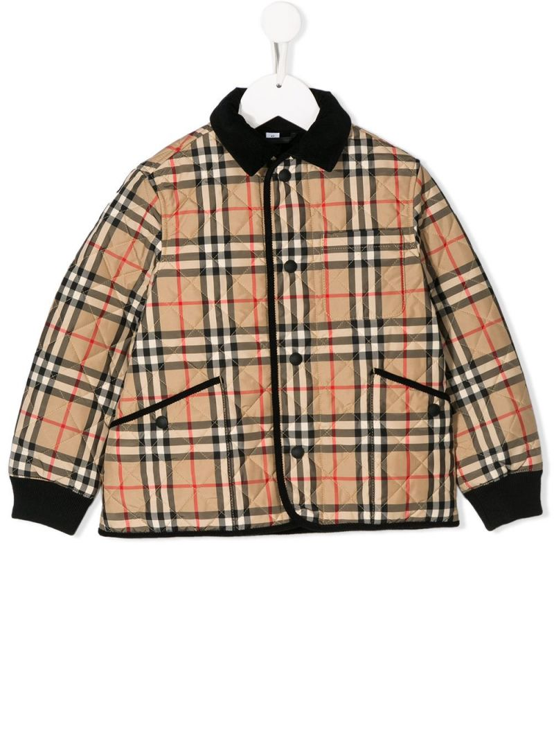 BURBERRY CHILDREN: Vintage check nylon quilted jacket_1