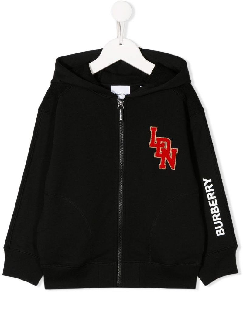 BURBERRY CHILDREN: LDN patch cotton full-zip hoodie Color Black_1