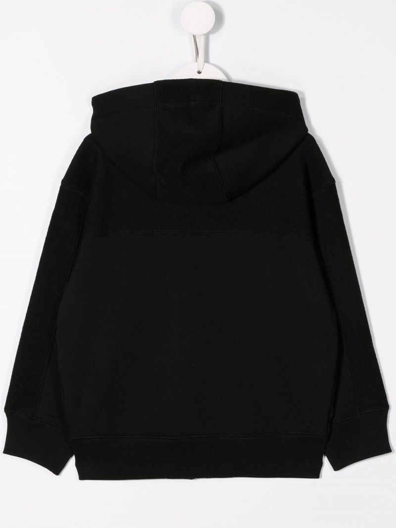 BURBERRY CHILDREN: LDN patch cotton full-zip hoodie Color Black_2