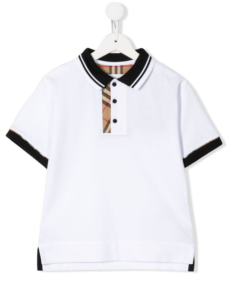 BURBERRY CHILDREN: cotton polo shirt with Vintage check inserts Color White_1
