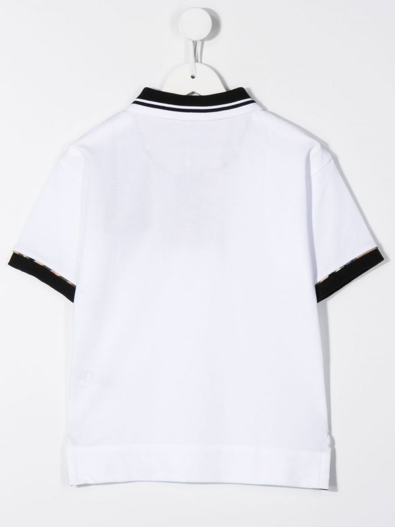 BURBERRY CHILDREN: cotton polo shirt with Vintage check inserts Color White_2
