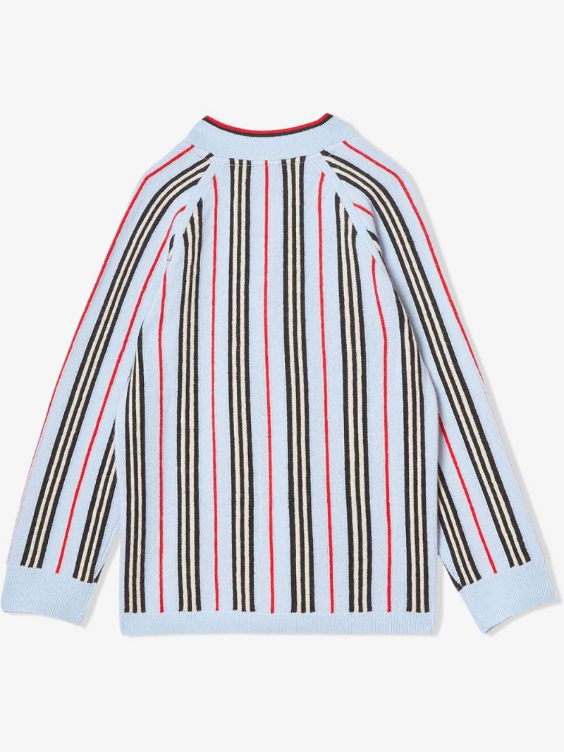 BURBERRY CHILDREN: Icon Stripe wool cashmere blend cardigan Color Blue_2