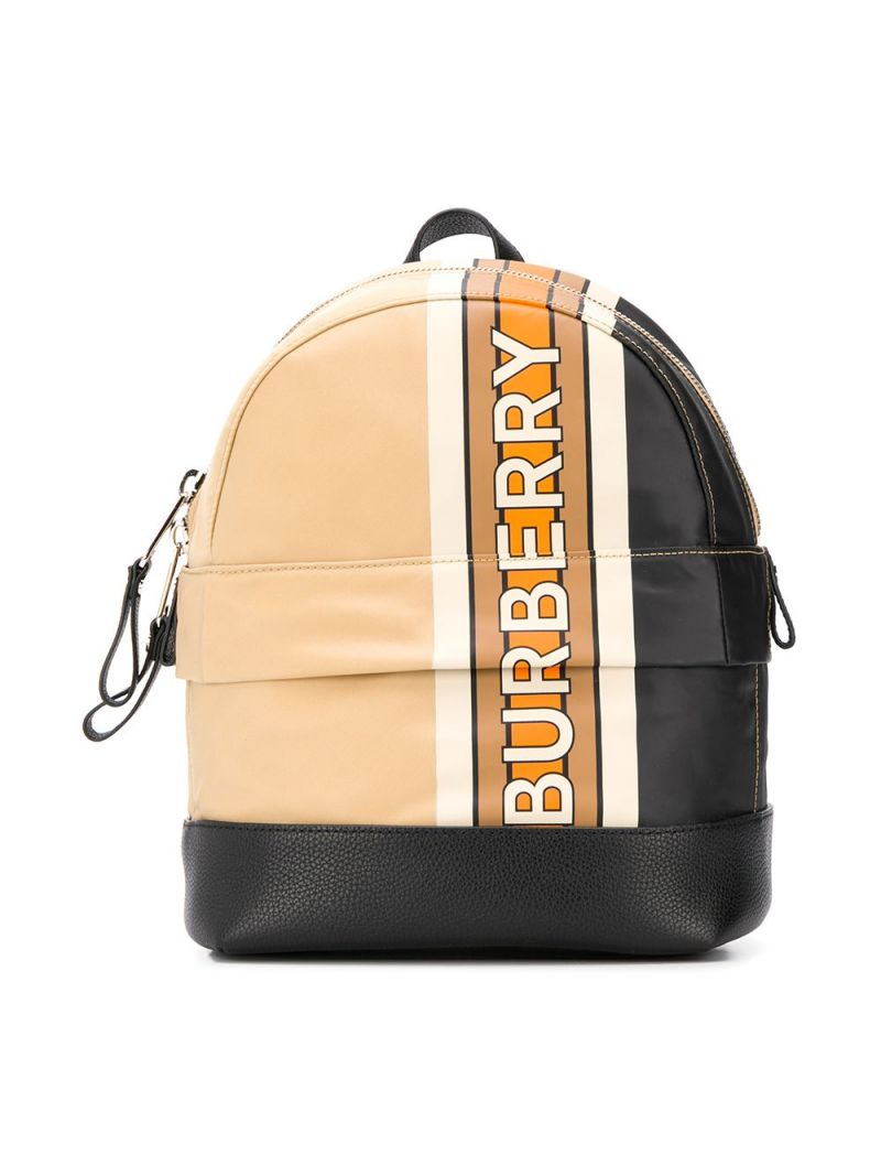 BURBERRY CHILDREN: logo print striped ECONYL® backpack_1