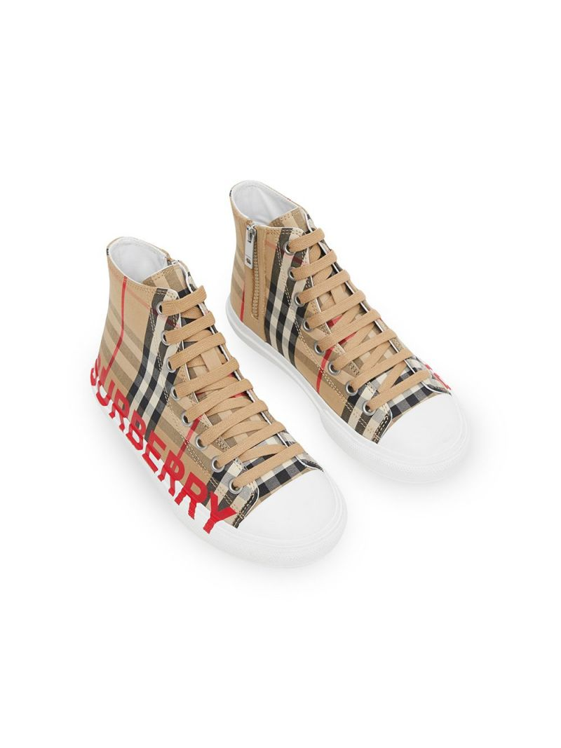 BURBERRY CHILDREN: Vintage check canvas high-top sneakers_2