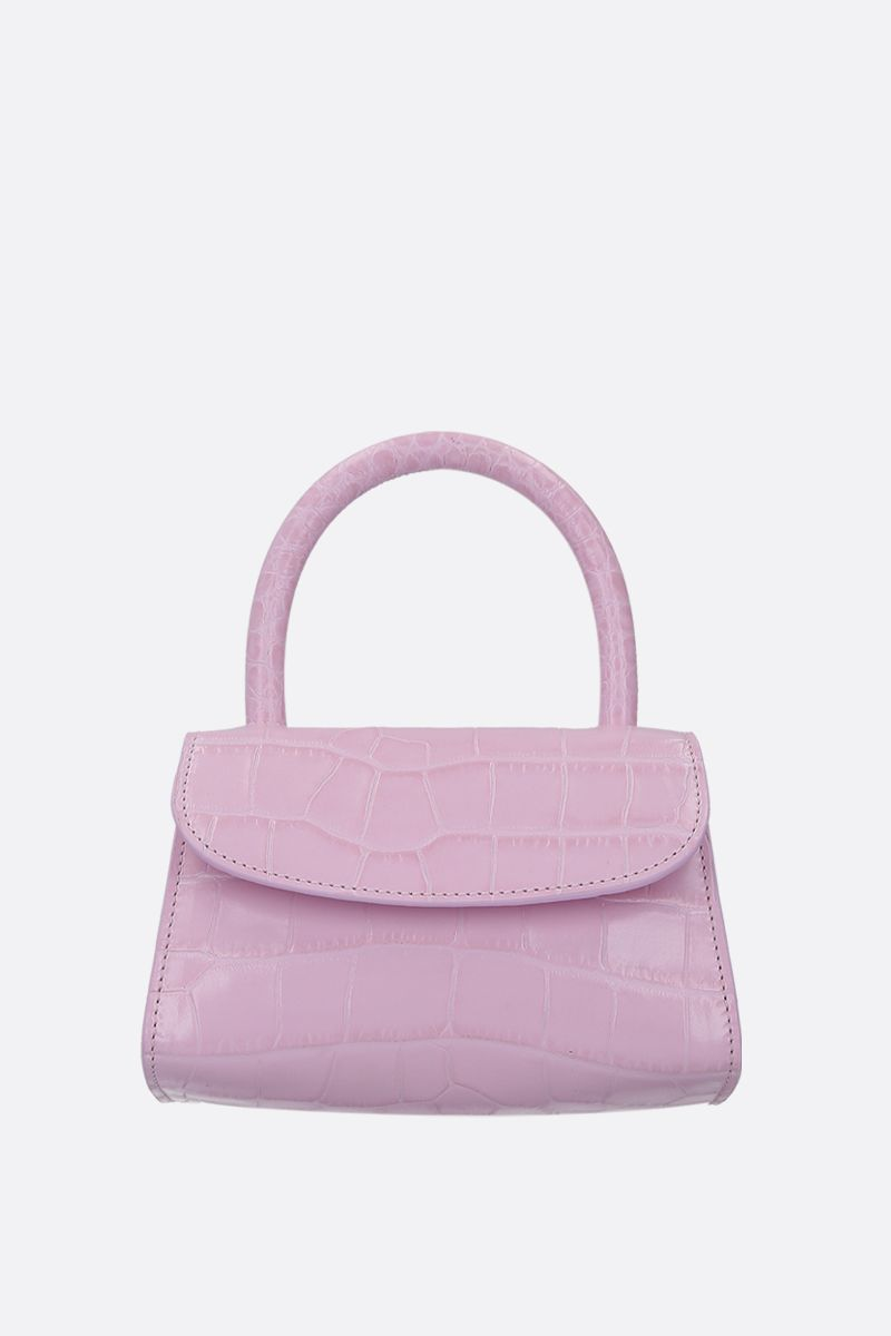 BY FAR: borsa a mano in pelle stampa coccodrillo Colore Rosa_1