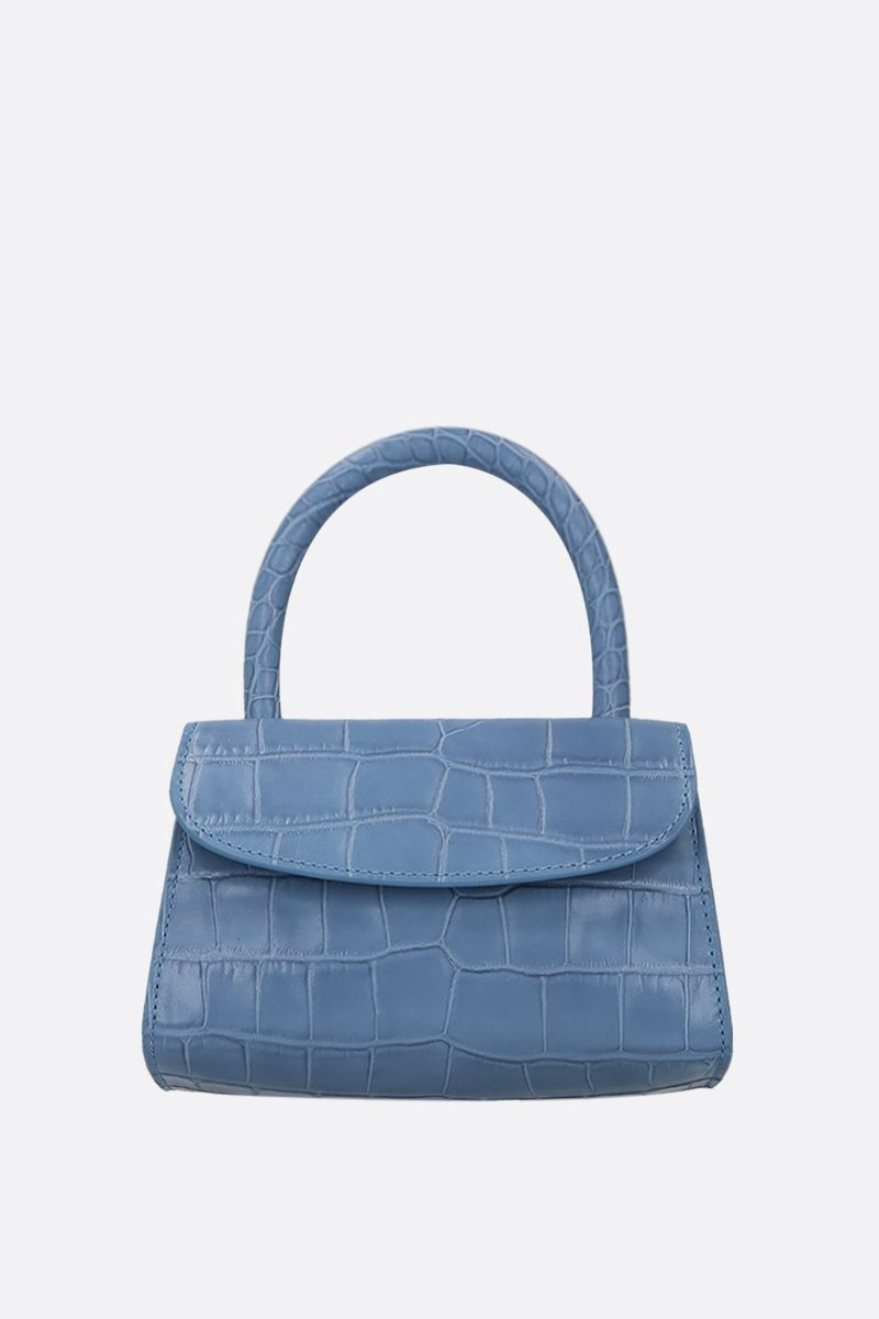 BY FAR: borsa a mano in pelle stampa coccodrillo Colore Blu_1