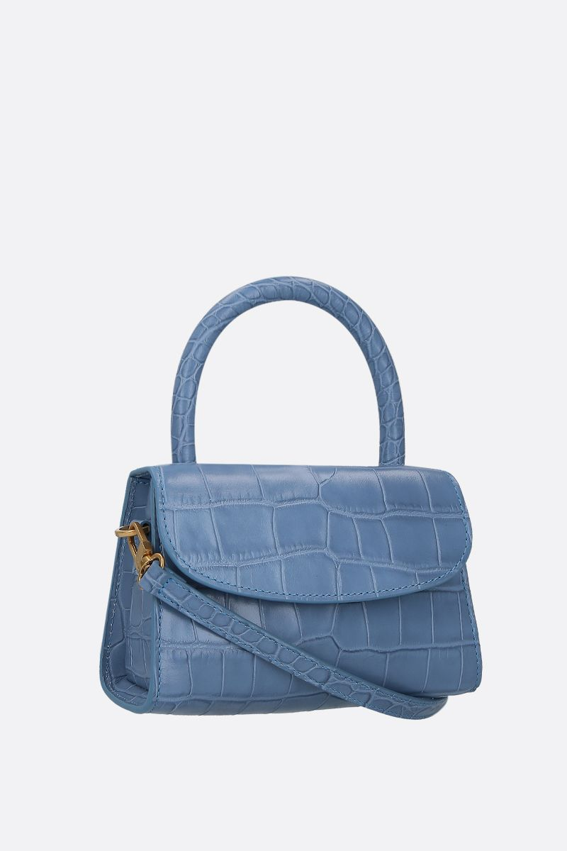 BY FAR: borsa a mano in pelle stampa coccodrillo Colore Blu_2