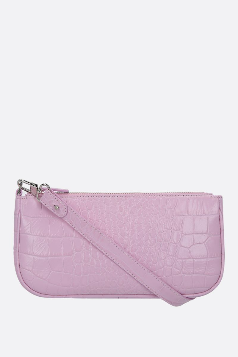BY FAR: borsa a spalla Rachel in pelle stampa coccodrillo Colore Rosa_1
