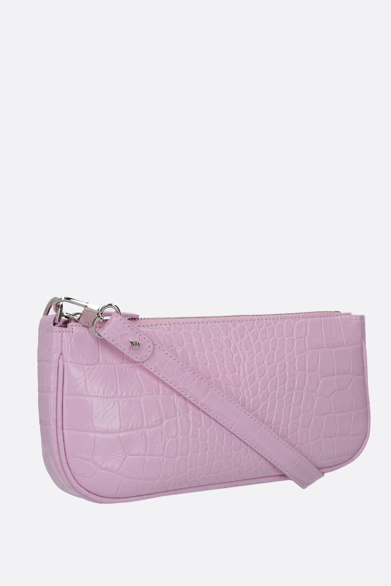 BY FAR: borsa a spalla Rachel in pelle stampa coccodrillo Colore Rosa_2