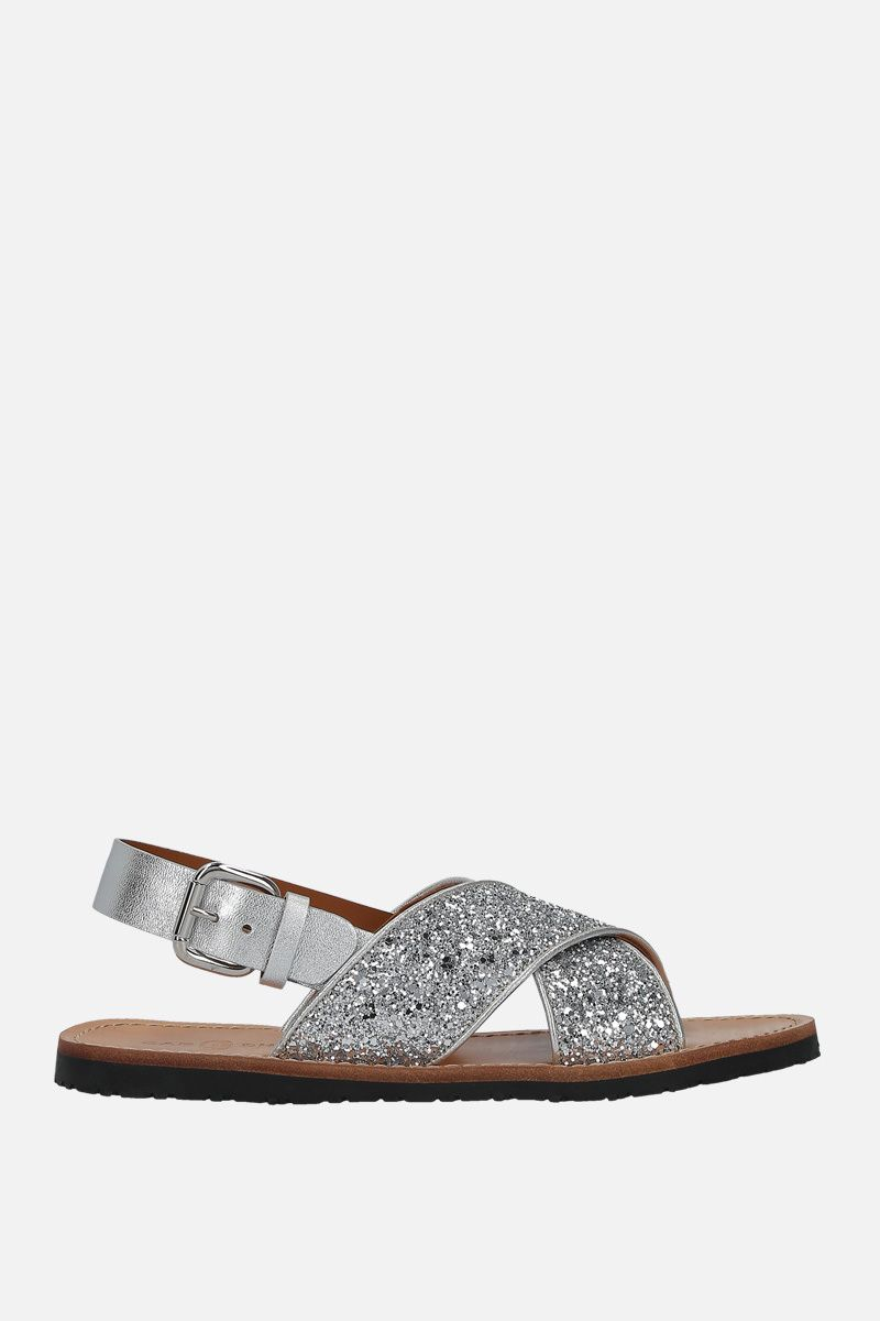 CAR SHOE: glitter fabric flat sandals Color Silver_1