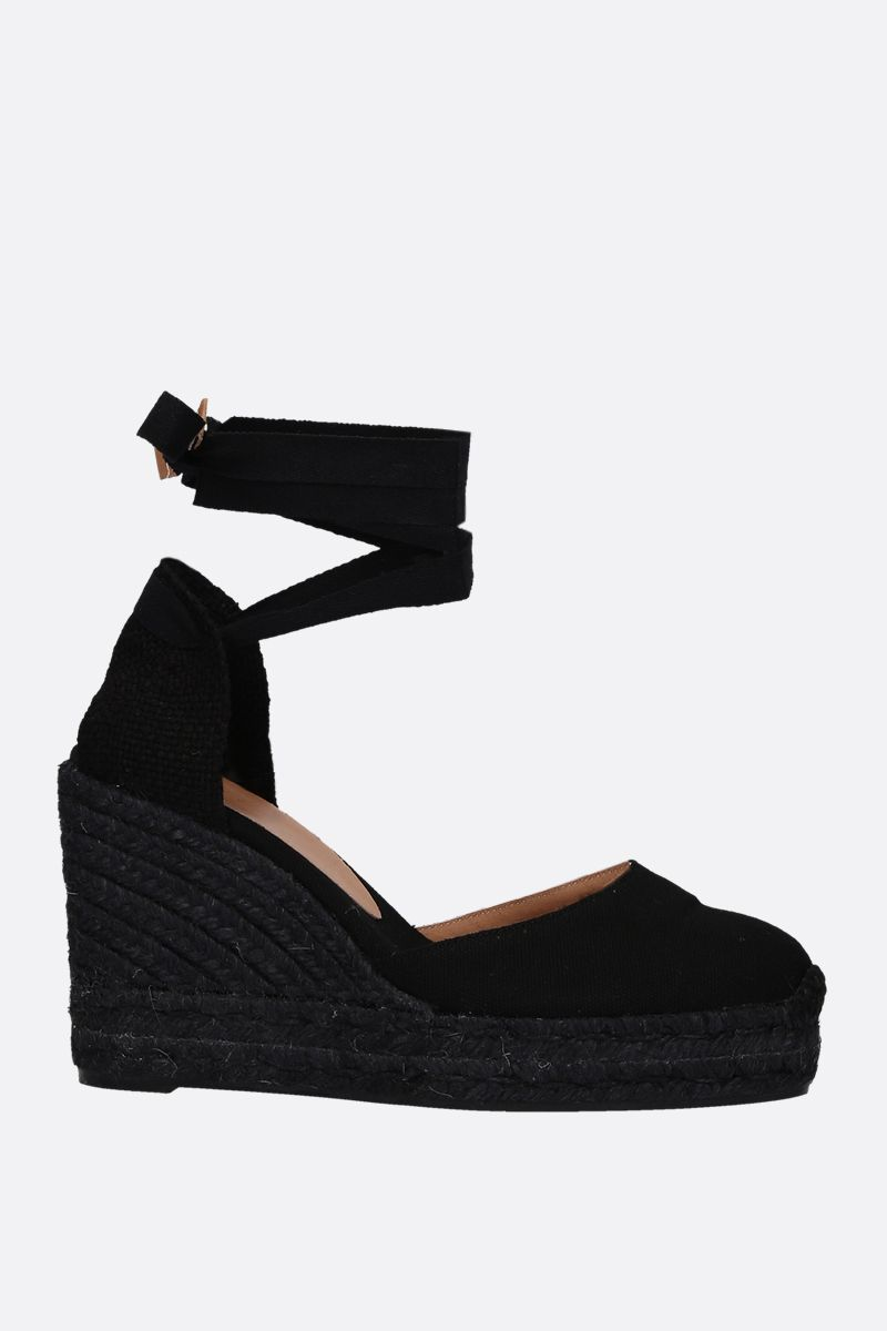 CASTANER: Carina wedge espadrilles in canvas and jute Color Black_1