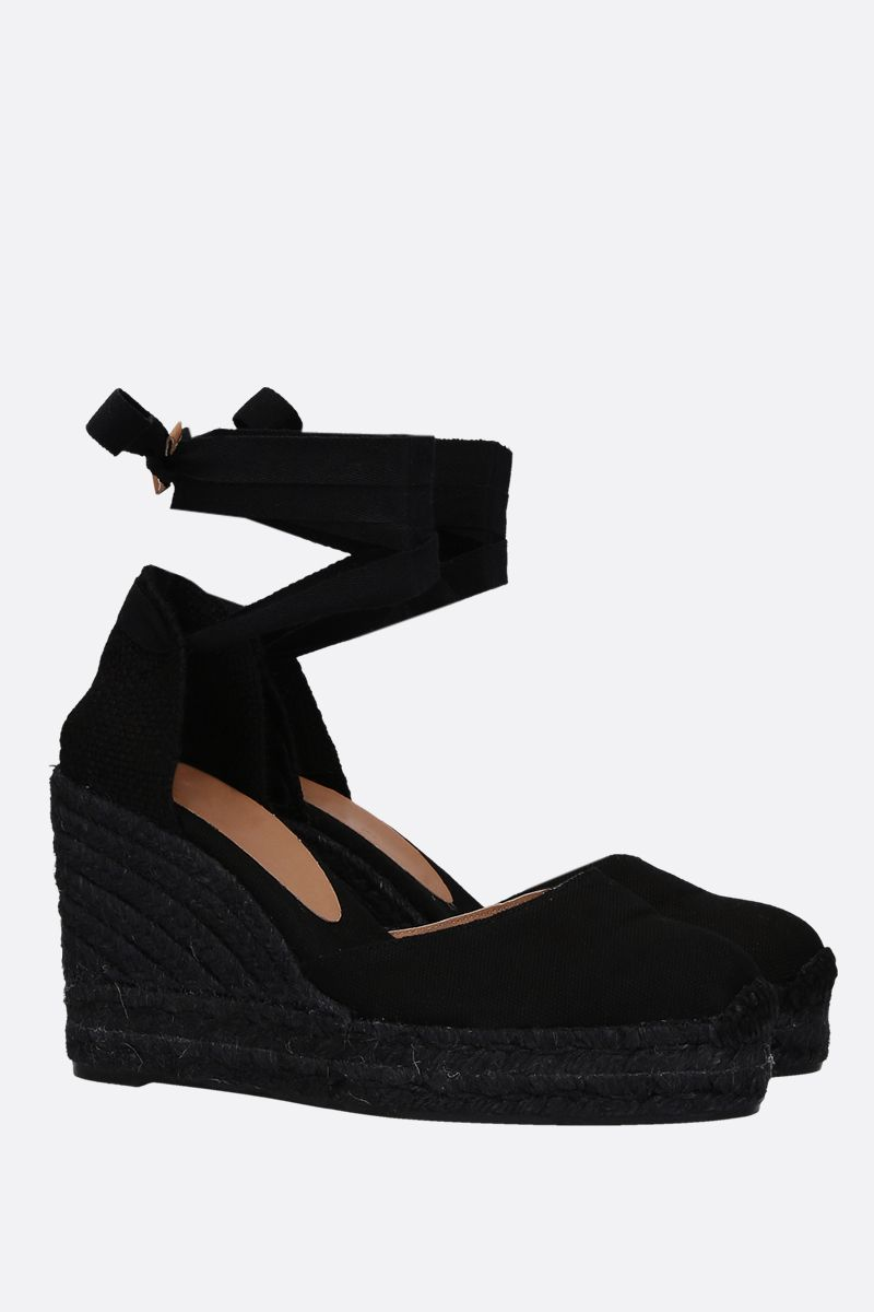 CASTANER: Carina wedge espadrilles in canvas and jute Color Black_2