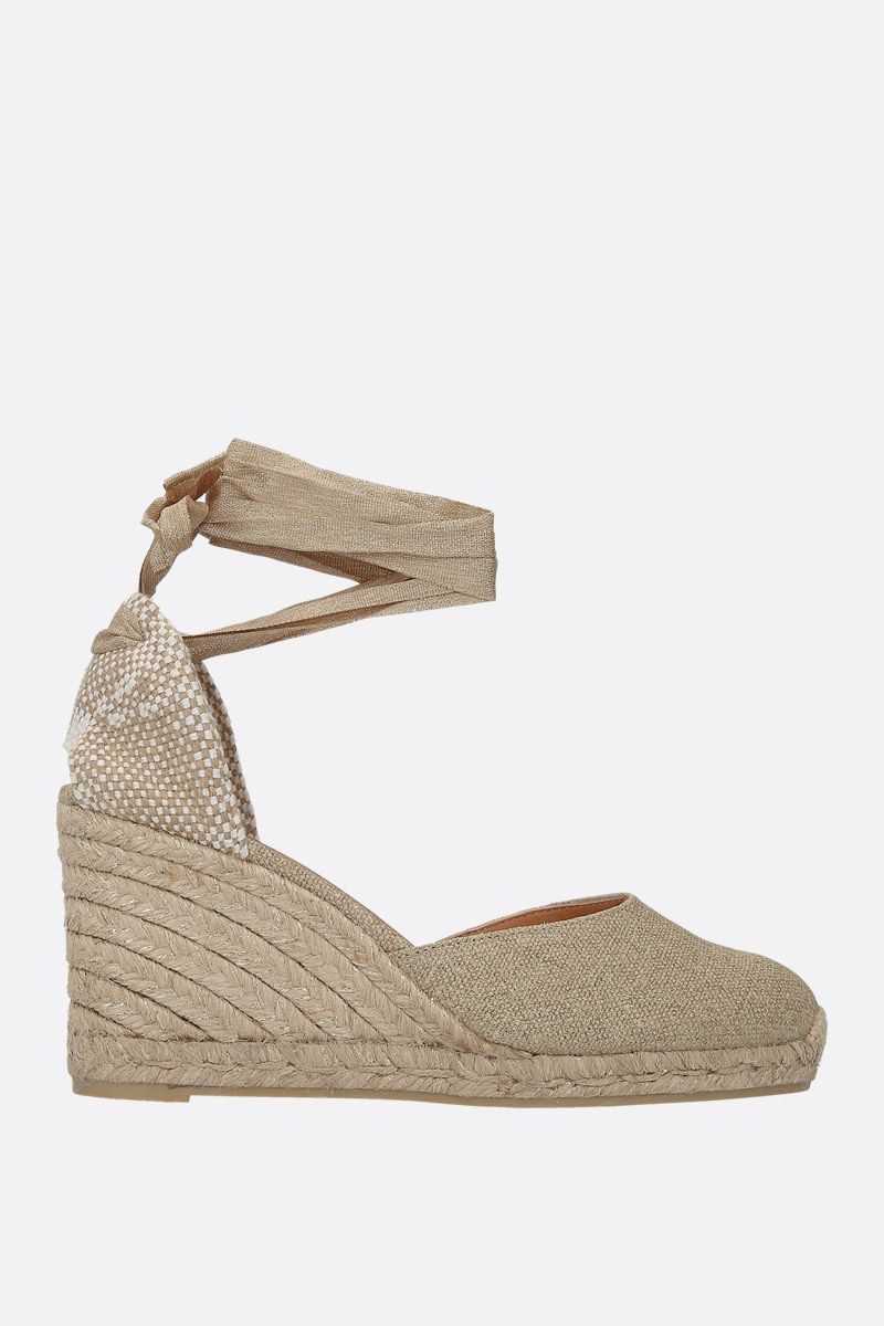 CASTANER: Carina wedge espadrilles in canvas and jute Color Gold_1