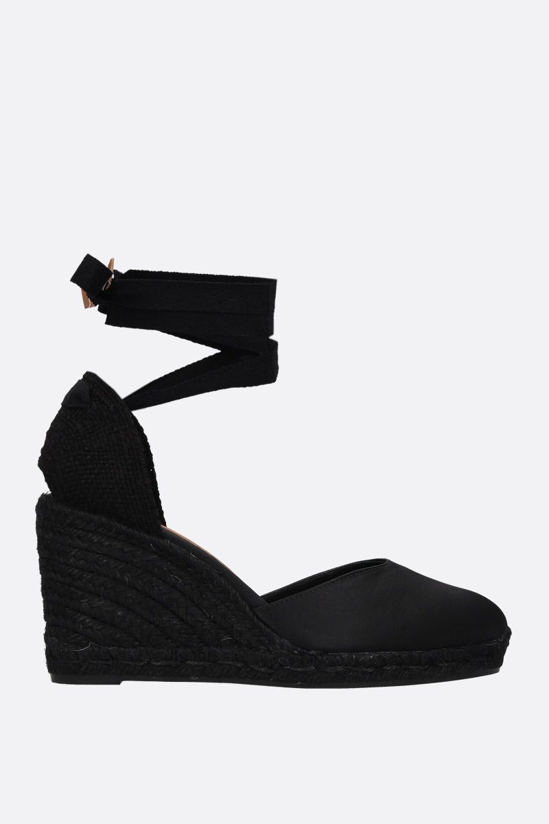 CASTANER: Carina wedge espadrilles in satin and jute Color Black_1