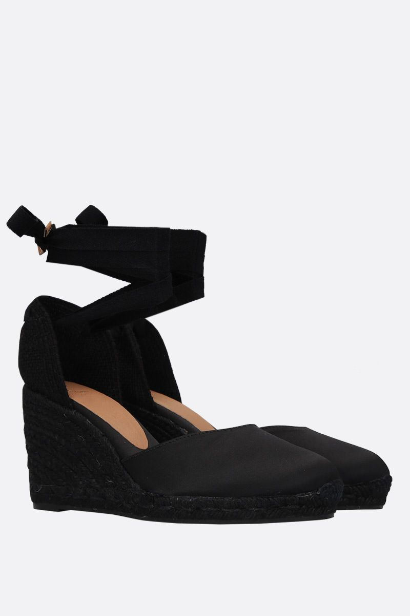 CASTANER: Carina wedge espadrilles in satin and jute Color Black_2