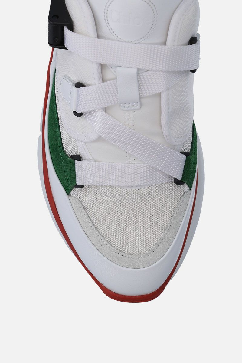 CHLOÈ: Sonnie low-top sneakers in leather and fabric Color Green_4