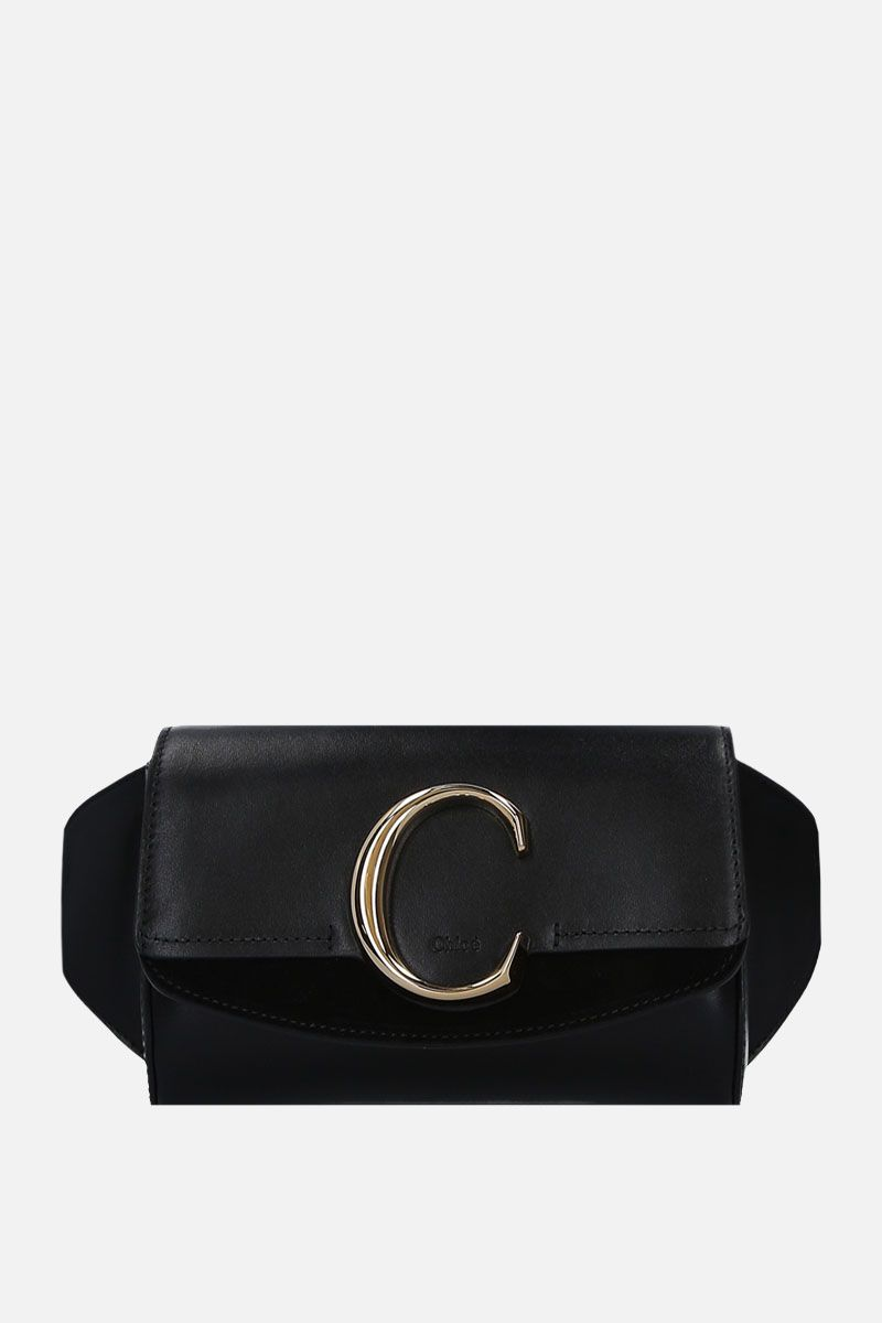 CHLOÈ: Chloè C belt bag in smooth leather and suede Color Black_1