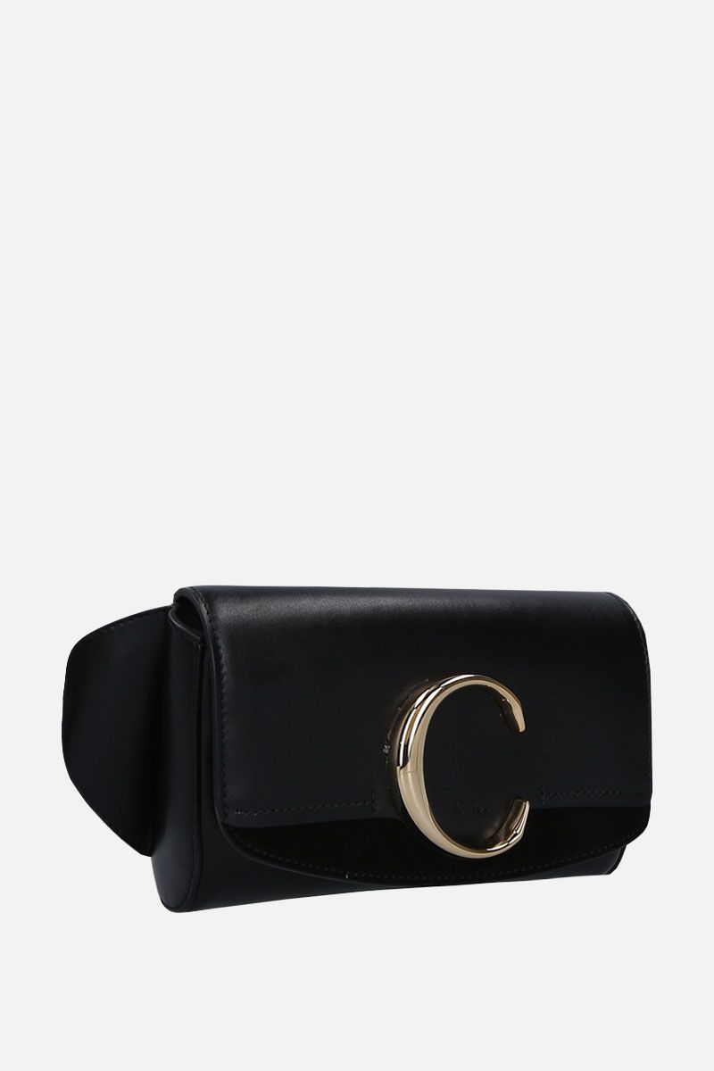 CHLOÈ: Chloè C belt bag in smooth leather and suede Color Black_2
