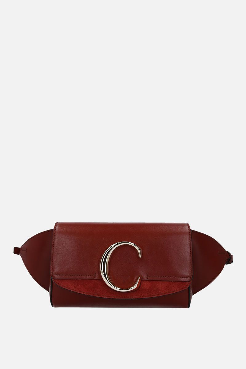 CHLOÈ: Chloè C belt bag in smooth eather and suede Color Brown_1
