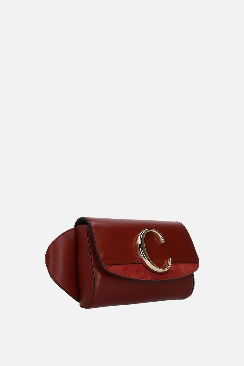 CHLOÈ: Chloè C belt bag in smooth eather and suede Color Brown_2