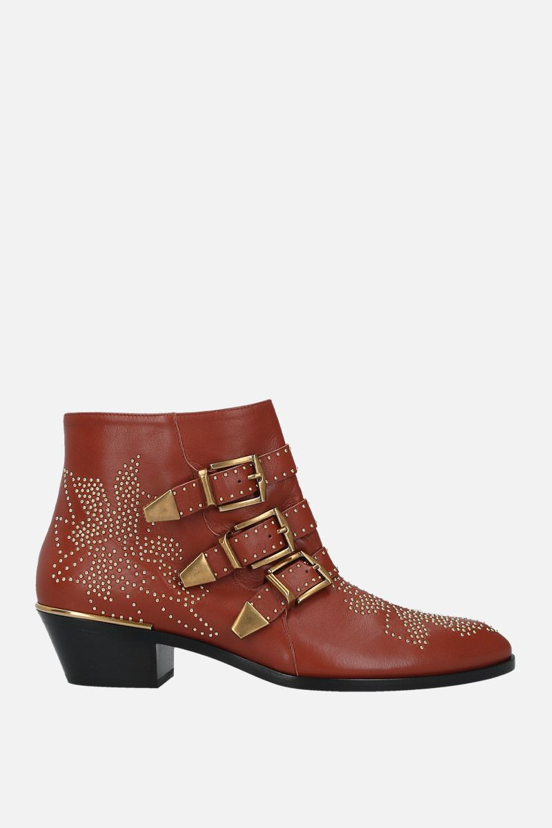 CHLOÈ: Susanna studded nappa western booties Color Brown_1