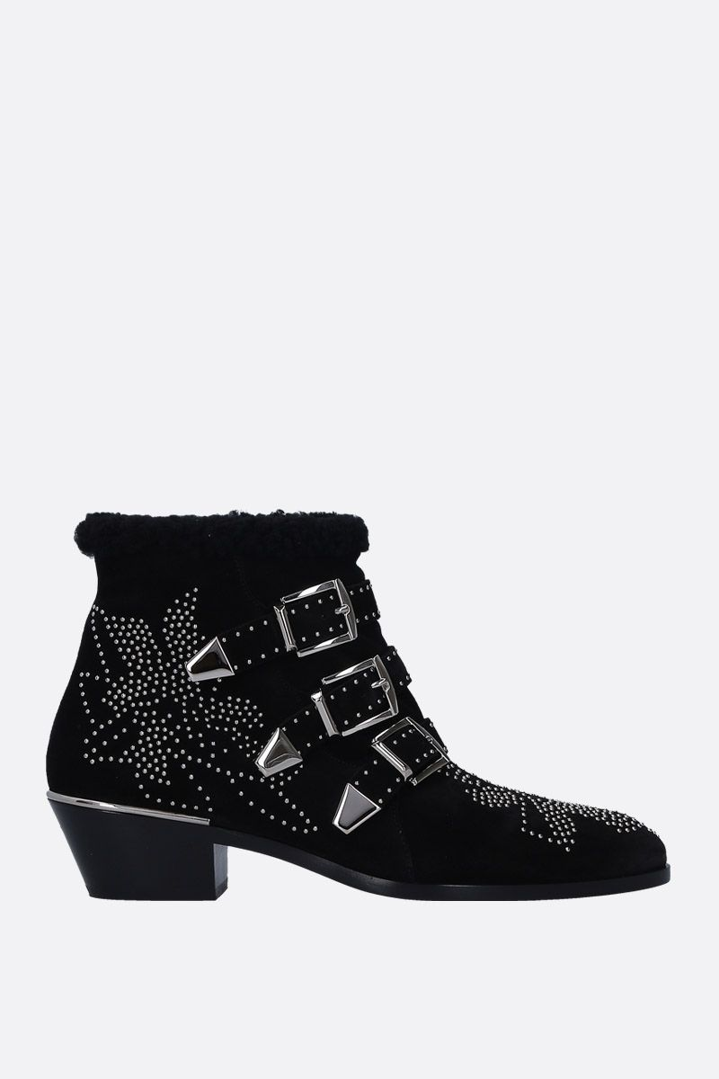 CHLOÈ: Susanna western boots in studded suede Color Black_1