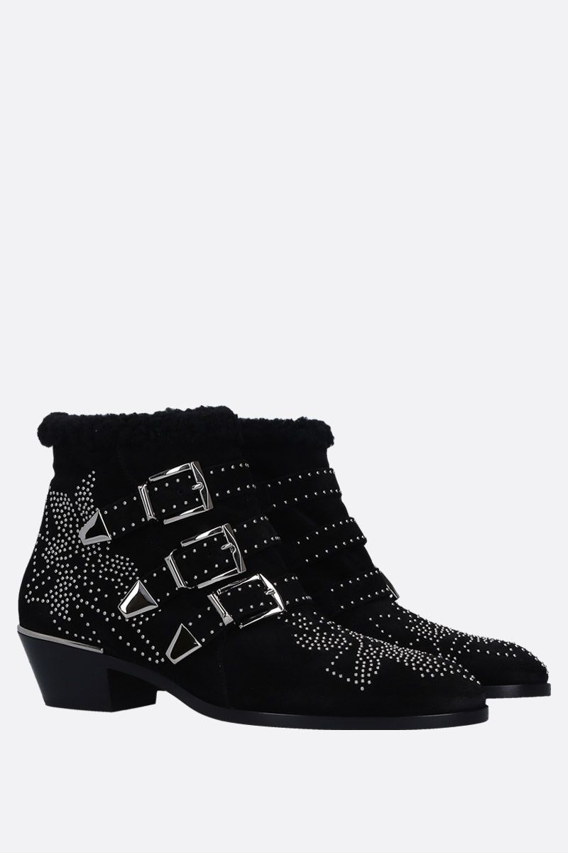 CHLOÈ: Susanna western boots in studded suede Color Black_2
