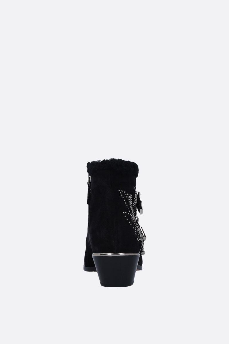 CHLOÈ: Susanna western boots in studded suede Color Black_3