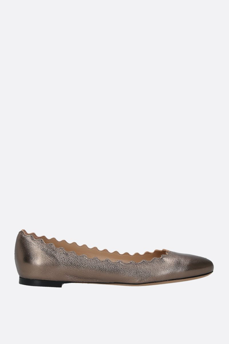 CHLOÈ: Laureen ballerinas in laminated nappa Color Silver_1