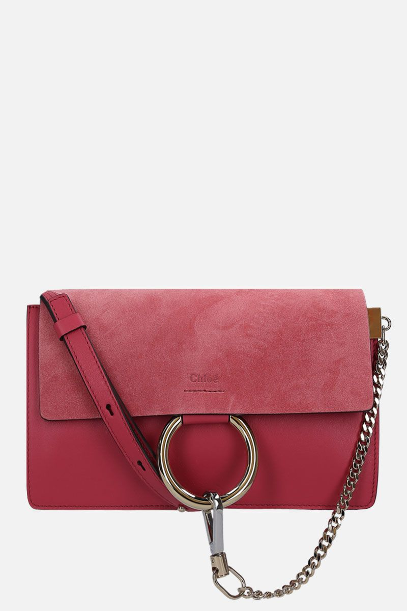 CHLOÈ: Faye small shoulder bag in smooth leather and suede_1